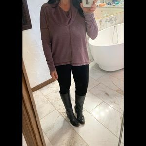 Lucky Brand Distressed Turtleneck Top Purple Small